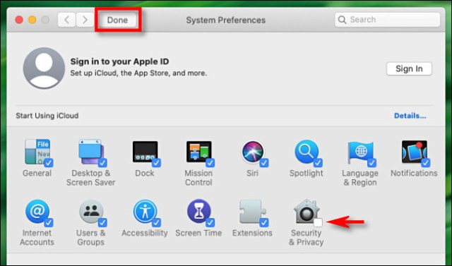 In System Preferences for Mac, uncheck an icon and click done to hide it.