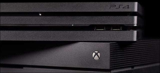 A PlayStation 4 console on an Xbox One.