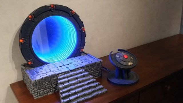 A Stargate replica with an open fake wormhole.
