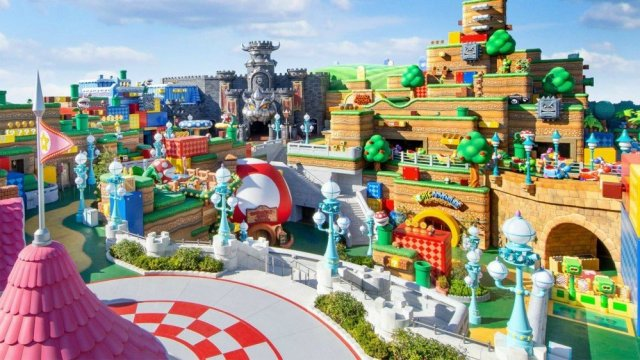 A view of Super Nintendo World from above.