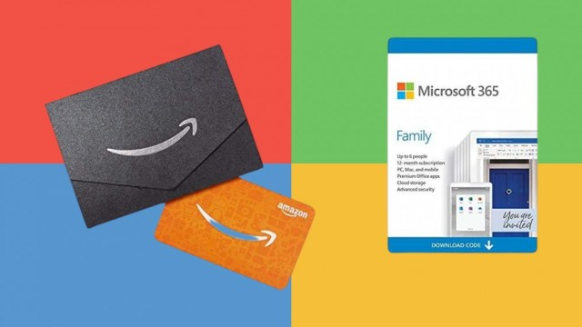 Microsoft 365 Family and Amazon gift cards in front of the Microsoft logo