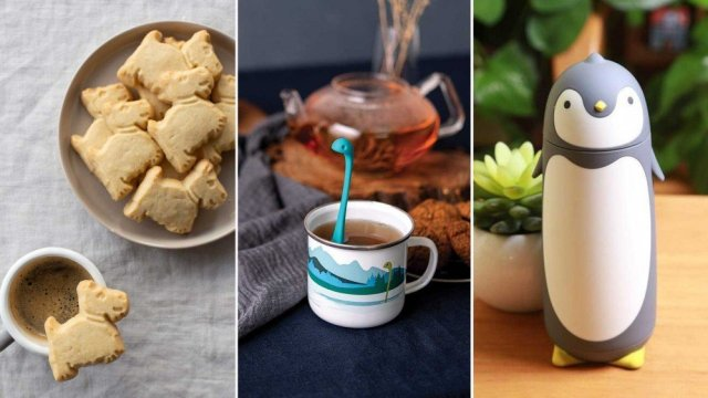 From left to right: scottie dog shortbread cookies, a Loch Ness monster tea strainer and a penguin thermos.