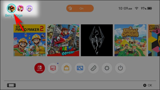 On the Switch home screen, select your user profile icon.