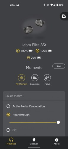 Jabra Sound + app showing headphones and HearThrough option enabled