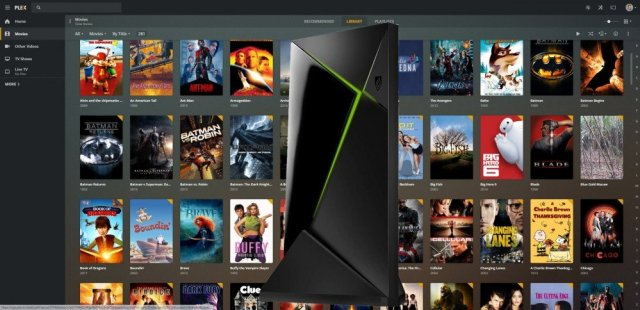 An Nvidia Shield Pro in front of a Plex user interface