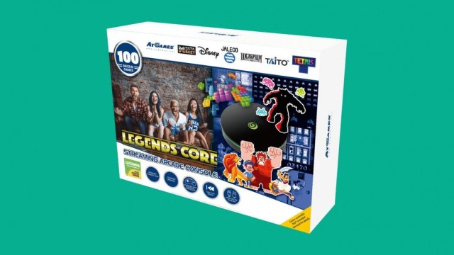 The AtGames Legends Core box containing 100 games.