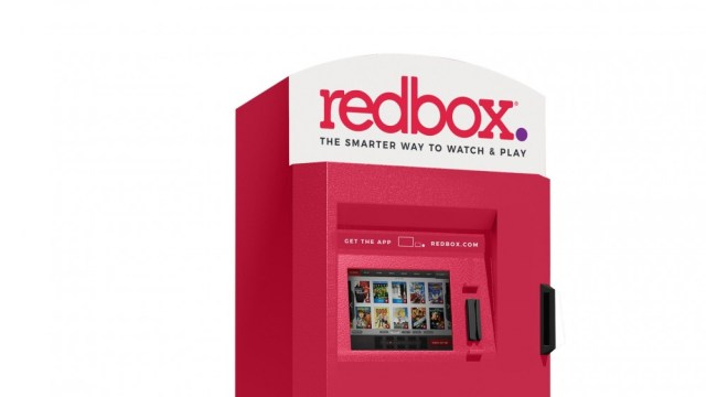 A red box kiosk on a white background
