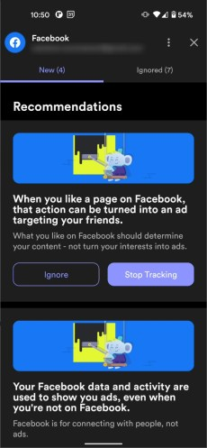 A screenshot of Jumbo Privacy's Facebook options