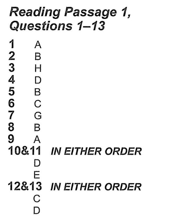 Reading Answers