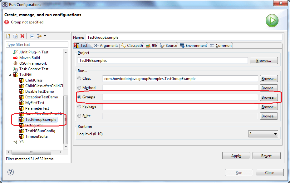 Select group in eclipse