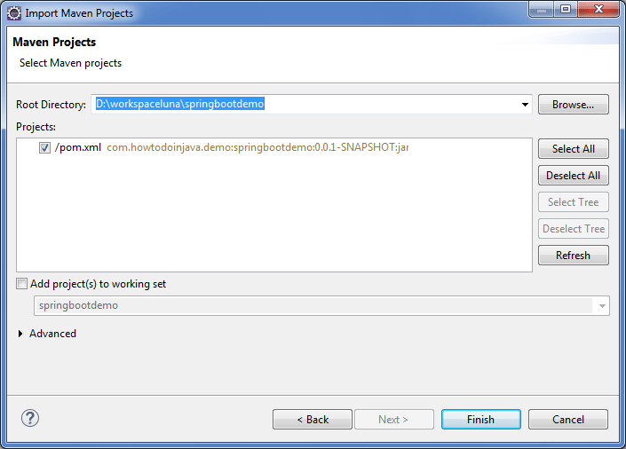 Select pom.xml file to import maven project