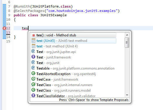 Use JUnit 5 Test Templates in Eclipse
