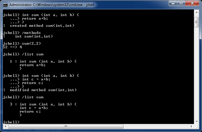 Working with Methods in JShell