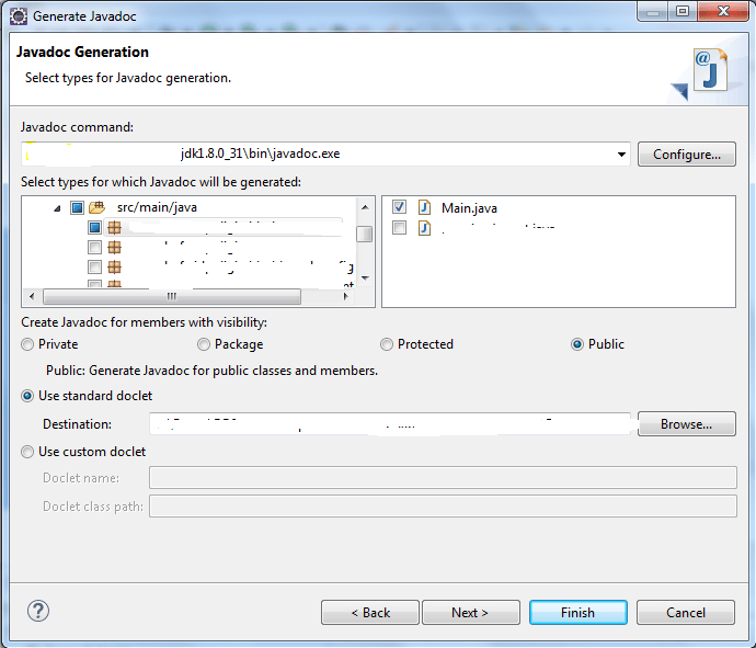 Java Doc Options in Eclipse