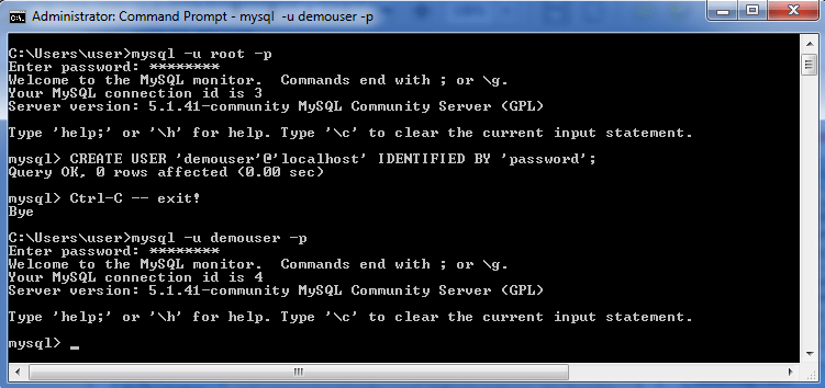 MySQL create new user
