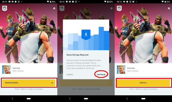 Android Fortnite Install Start