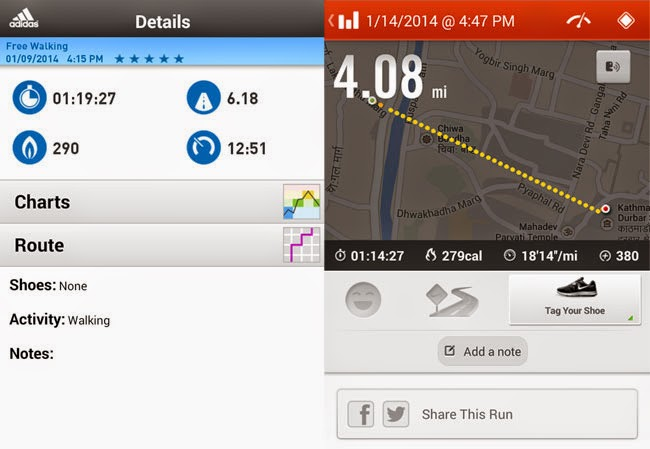 Details Saved by Adidas miCoach and Nike Plus Running