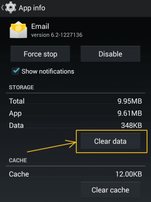 Clear Data from Email App
