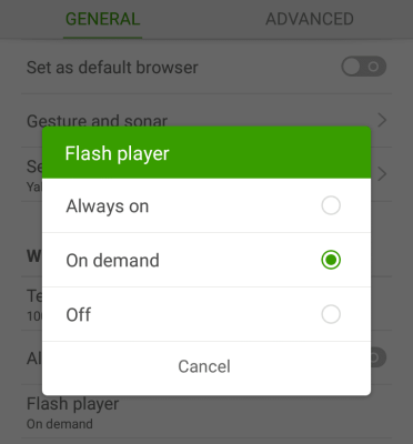 Dolphin Browser Flash Player Options