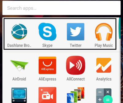 Row of Suggested Apps