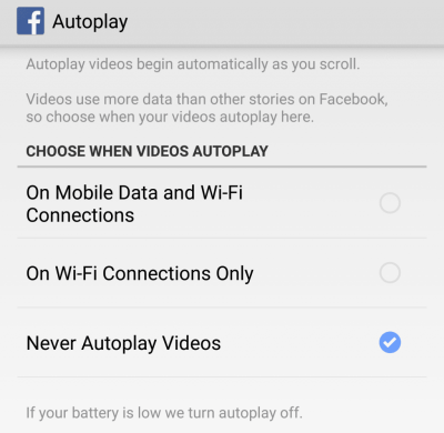 Autoplay Settings on App