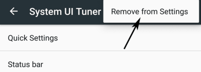 Remove from Settings