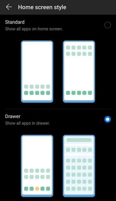 Choosing Huawei Home Screen Style on P30 Pro