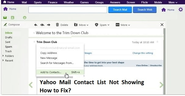 yahoo mail contact list not showing