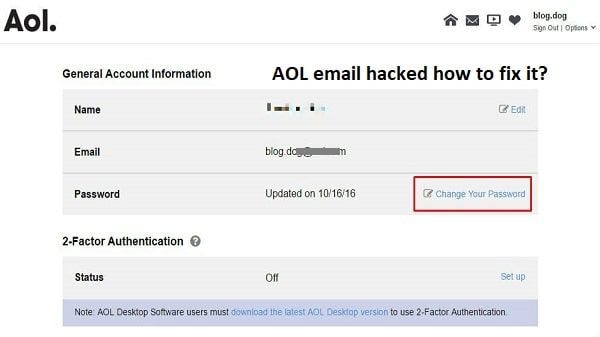 AOL email hacked