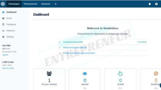 SendinBlue Review - Dashboard and User Experience