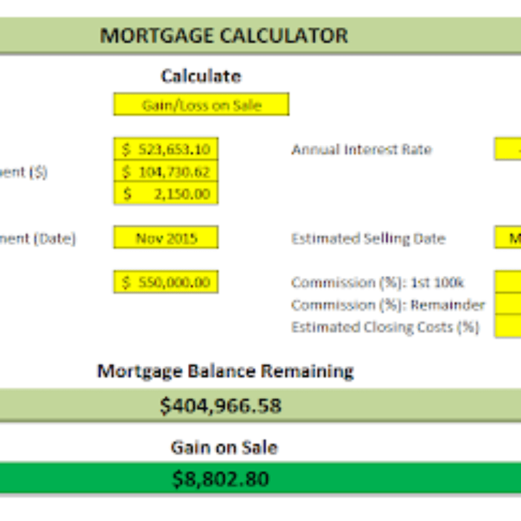 Mortgage Closing Cost Worksheet Excel