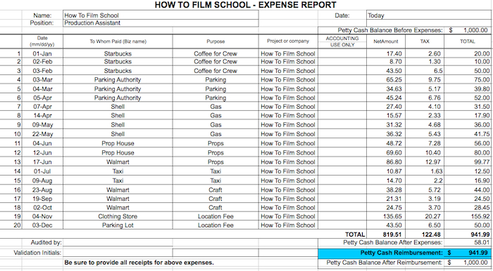 Free Expense Report  HowtofilmschoolCom