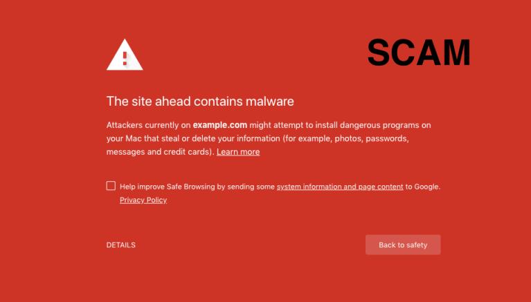 Deceptive Site Ahead Scam