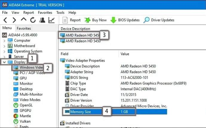 Check VRAM (Graphics Card Video Memory) - AIDA64
