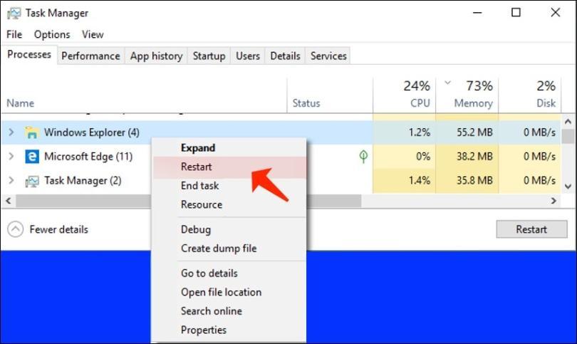 Reboot Windows Explorer and Cortana