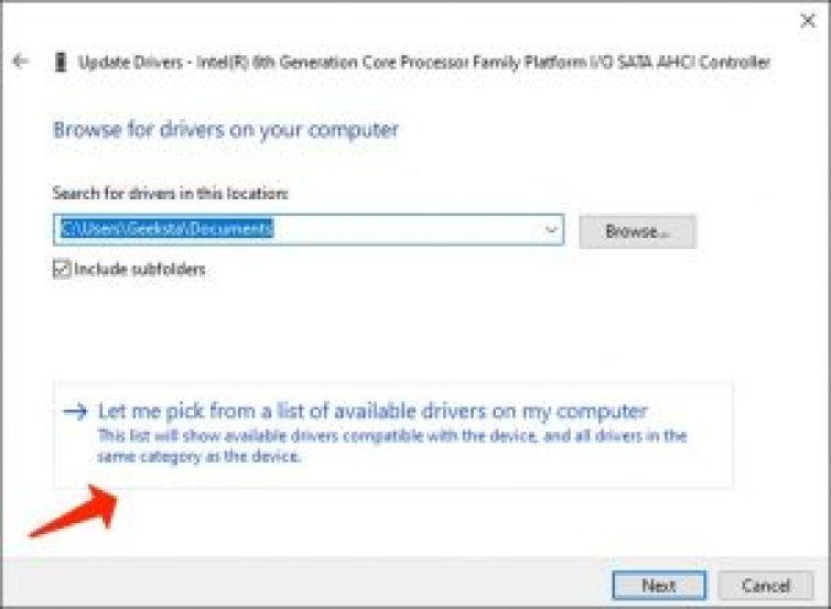 コンピューター上のデバイスドライバーのリストから選択します