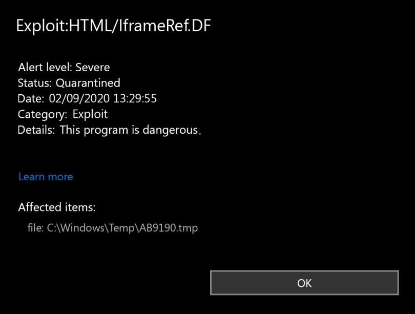 Exploit:HTML/IframeRef.DF found