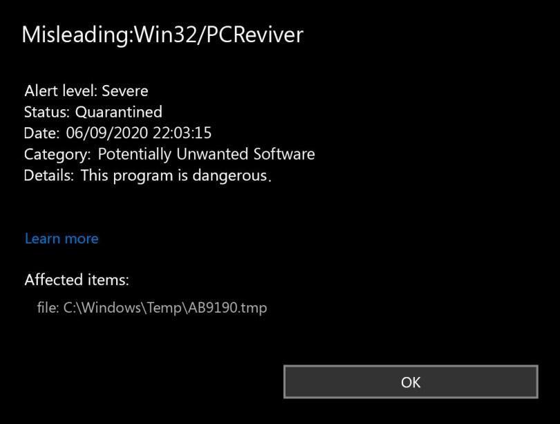 Misleading:Win32/PCReviver found