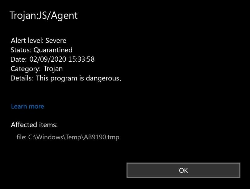 Trojan:JS/Agent found