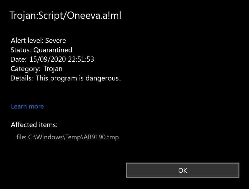 Trojan:Script/Oneeva.a!ml found