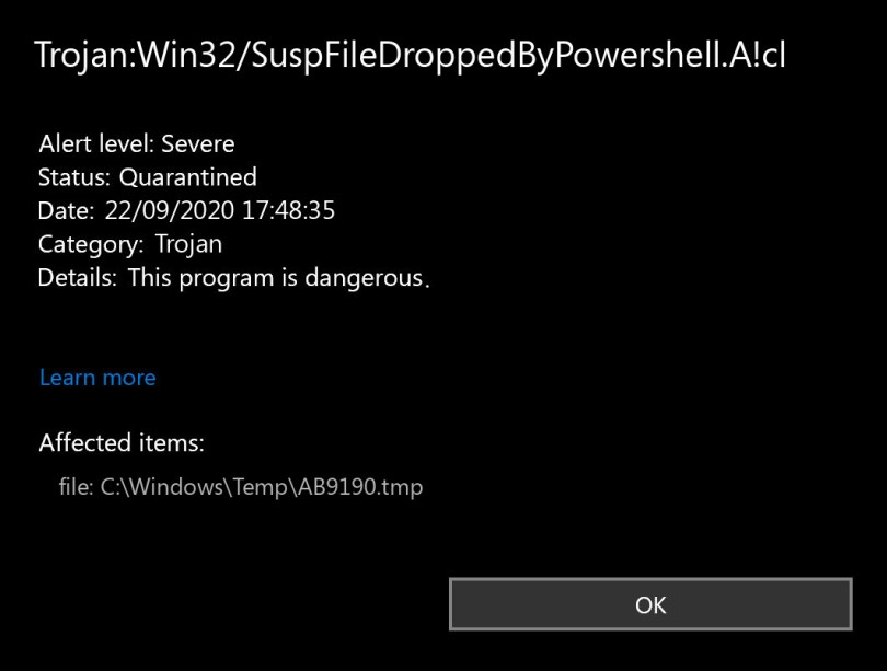 Trojan:Win32/SuspFileDroppedByPowershell.A!cl found