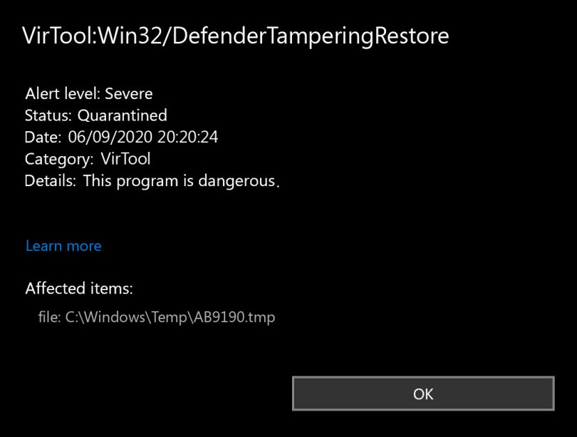 VirTool:Win32/DefenderTamperingRestore found