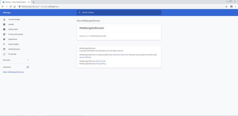 WebNavigatorBrowser setting