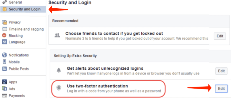 facebook - two-factor authentication