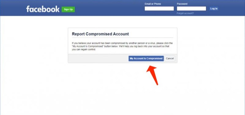 hacked facebook account - report compromised account