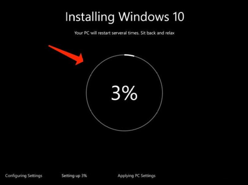 install windows10 - progress installation