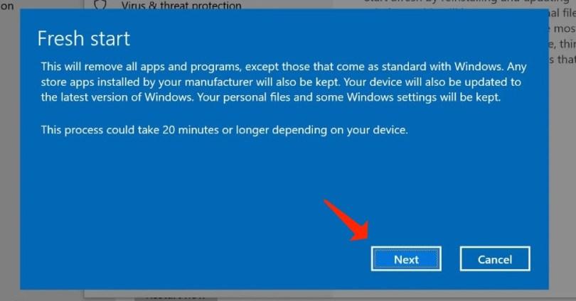 reinstall windows10- fresh warning