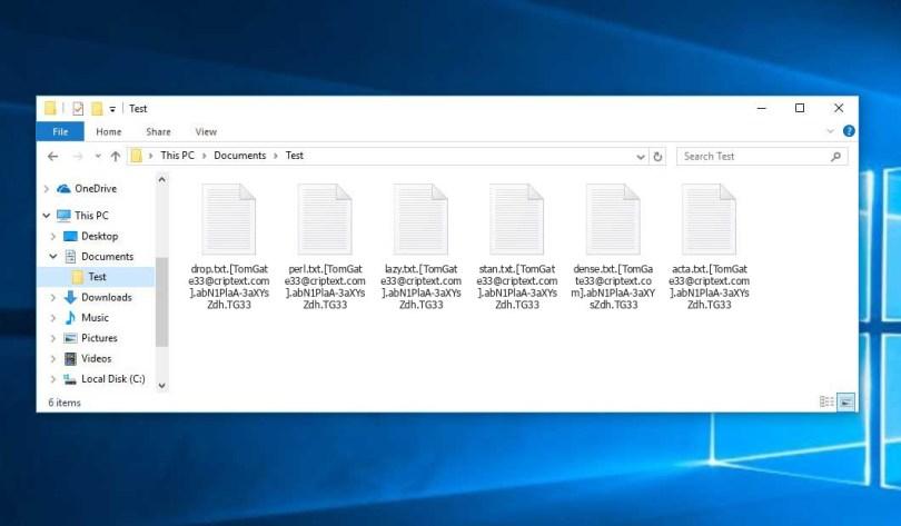 Tg33 Virus - encrypted .[TomGate33@criptext.com].[random].TG33 files