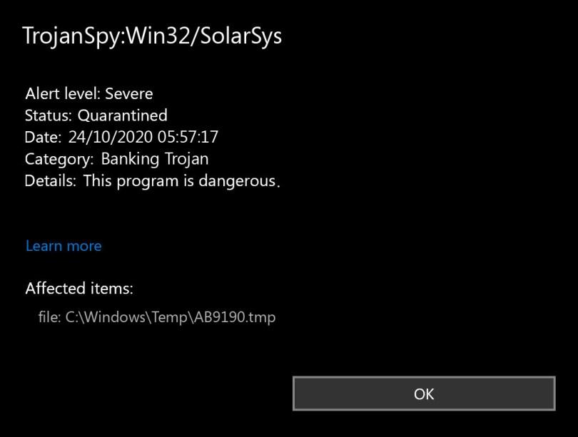 TrojanSpy:Win32/SolarSys found