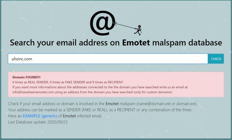 New service checks for Emotet